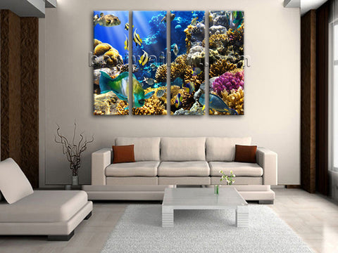 Large Tropical Fis Hanimal Painting Home Decor Living Room 4 Pieces Prints
