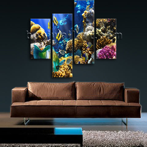 Large Tropical Fis Hanimal Wall Decor Canvas Art Bedroom Tetraptych Panels Print