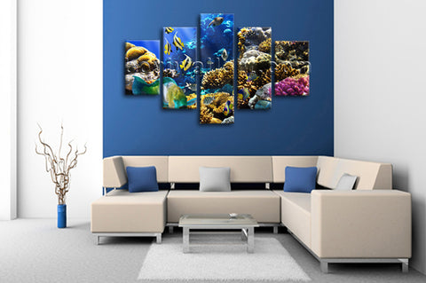 Large Tropical Fis Hanimal Wall Art Painting Dining Room Canvas Print