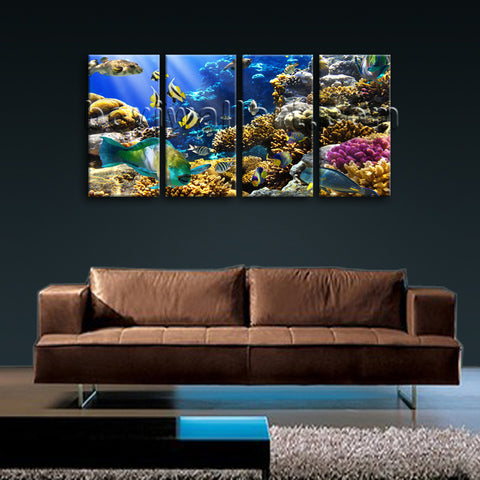 Large Tropical Fis Hanimal Hd Print Photography Painting Bedroom 4 Pieces Canvas