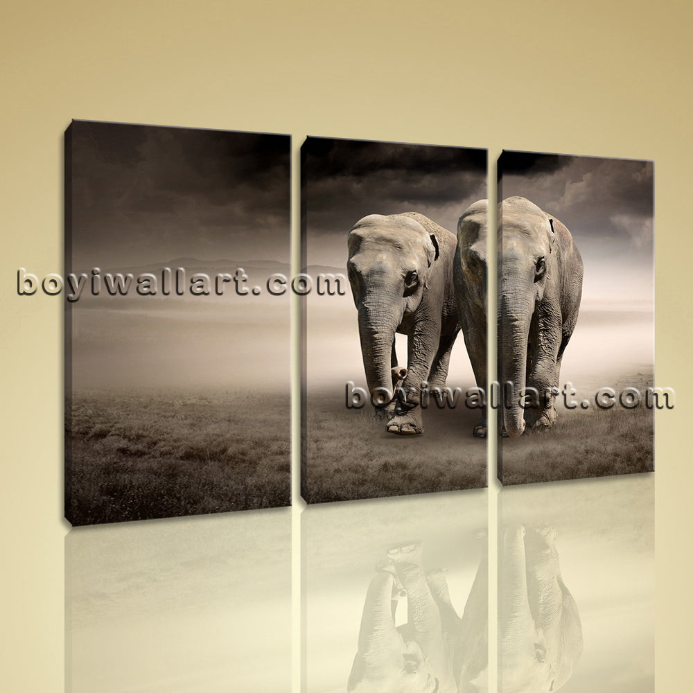 Large Asian Elephant Painting Contemporary Wall Decor Bedroom 1 Pieces Art Print