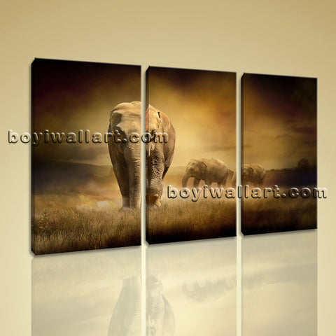 Large Sunset Elephant Painting Contemporary Wall Decor Triptych Pieces Prints