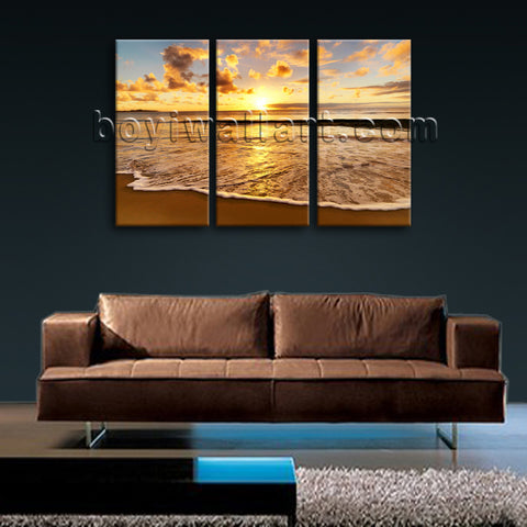 Large Sunset Beac Hbeach Wall Art Painting Bedroom Triptych Panels Print