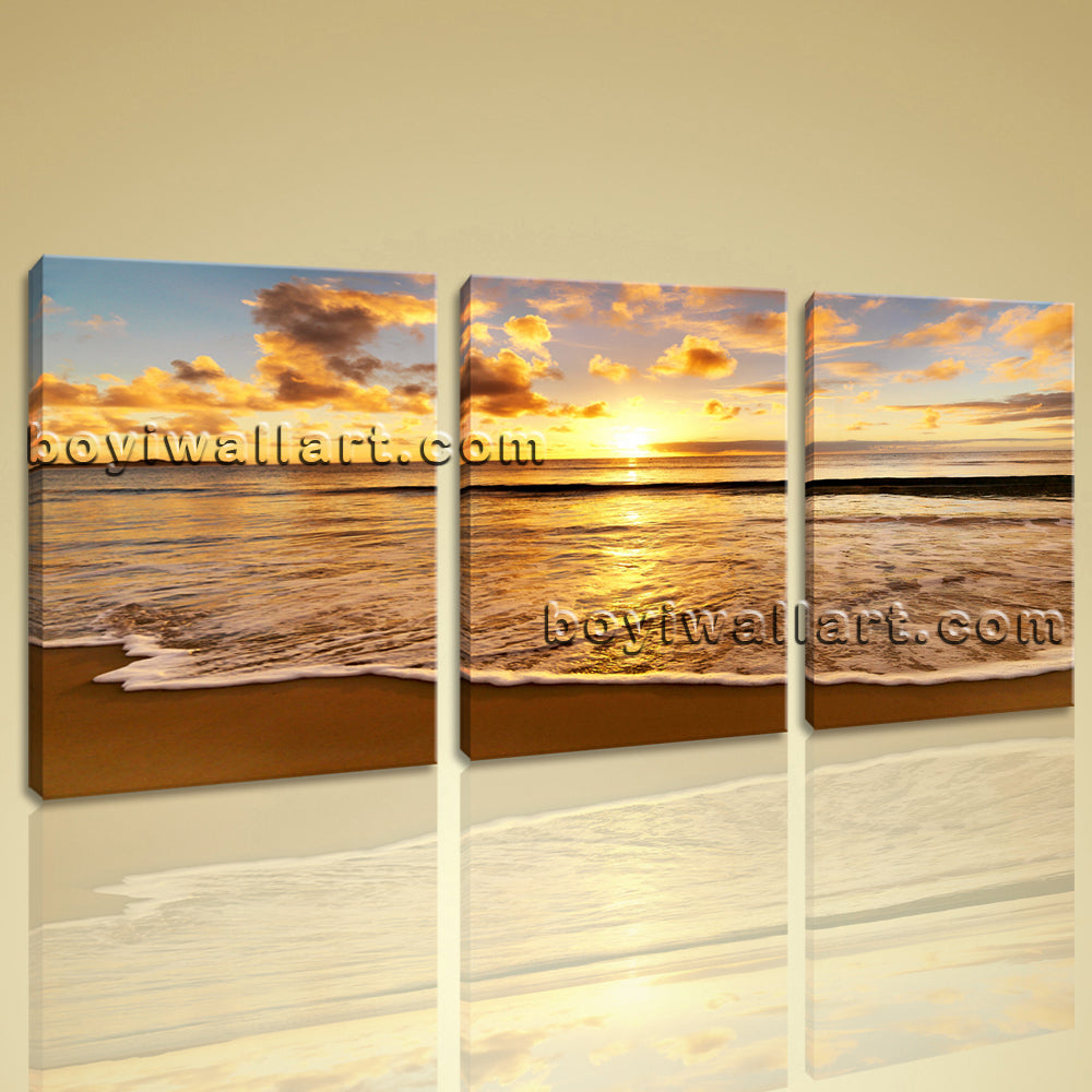 Large Sunset Beac Hbeach Wall Decor Painting Living Room Triptych Pieces Prints