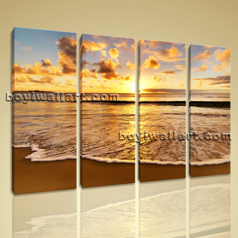 Large Sunset Beac Hbeach Wall Art Home Decor Living Room 4 Panels Prints