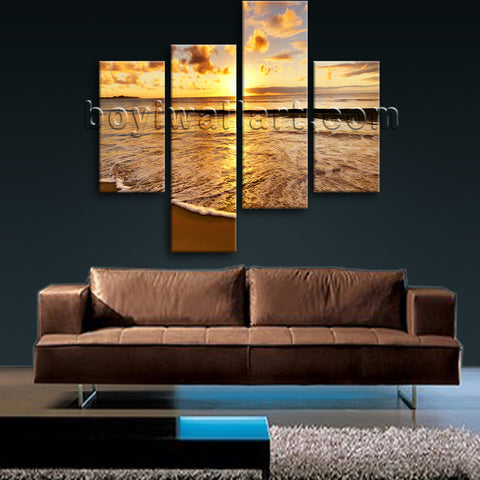 Large Sunset Beac Hbeach Hd Print Art Painting Bedroom 4 Pieces Giclee
