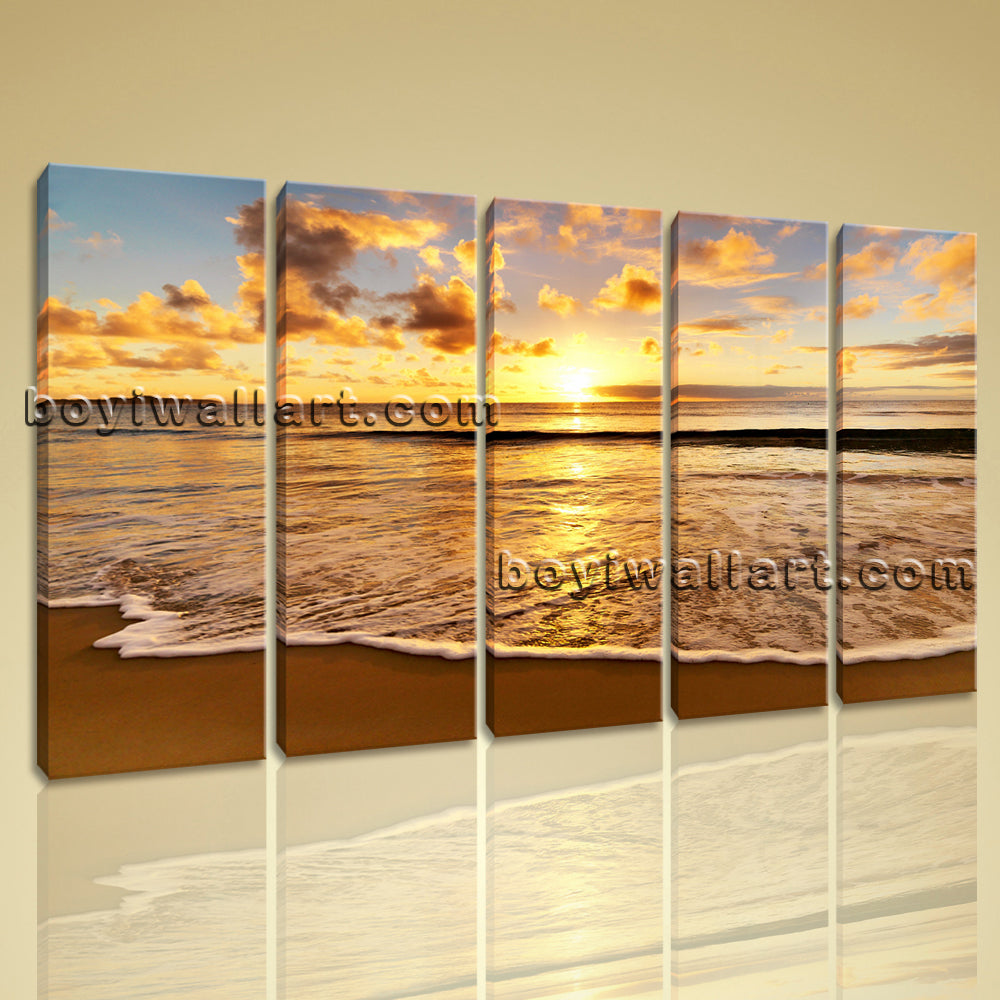 Large Sunset Beac Hbeach Hd Print Wall Art Dining Room Pentaptych Pieces