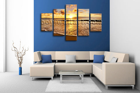 Large Sunset Beac Hbeach Painting Home Decor Dining Room Pentaptych Pieces Print