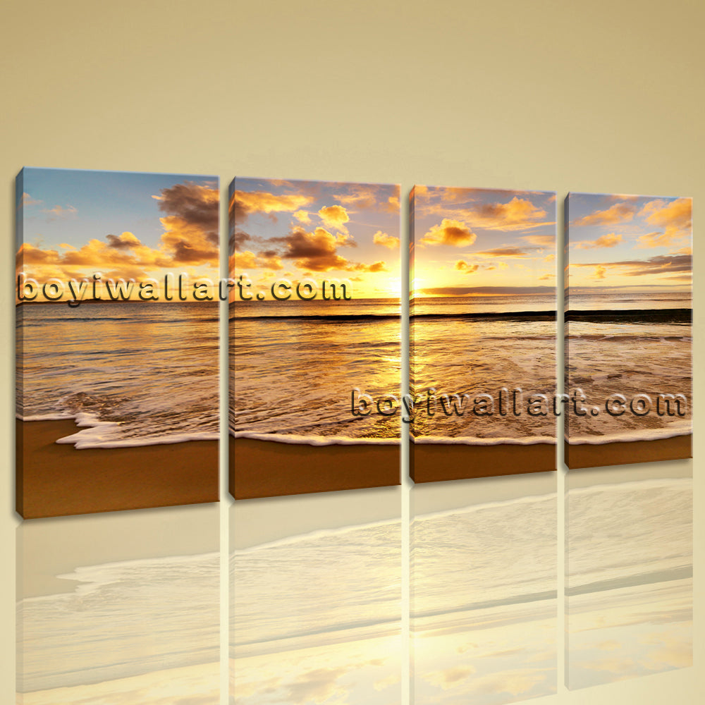 Large Sunset Beac Hbeach Canvas Art Oil Painting Bedroom 4 Panels Prints