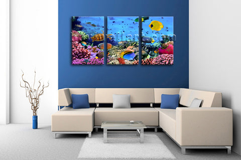 Large Tropical Fish Coral Animal Painting Canvas Art Three Panels Print