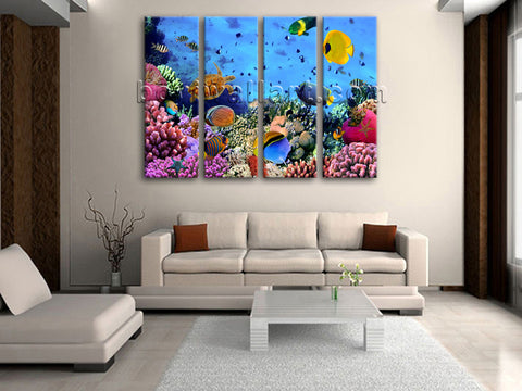 Large Tropical Fish Coral Animal Painting Art Tetraptych Panels Canvas Print