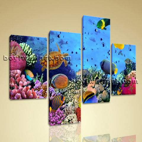 Large Tropical Fish Coral Animal Wall Art Home Decor Bedroom Four Panels Print