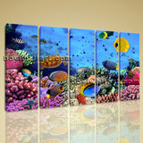 Large Tropical Fish Coral Animal Wall Art Painting On Canvas Dining Room Print