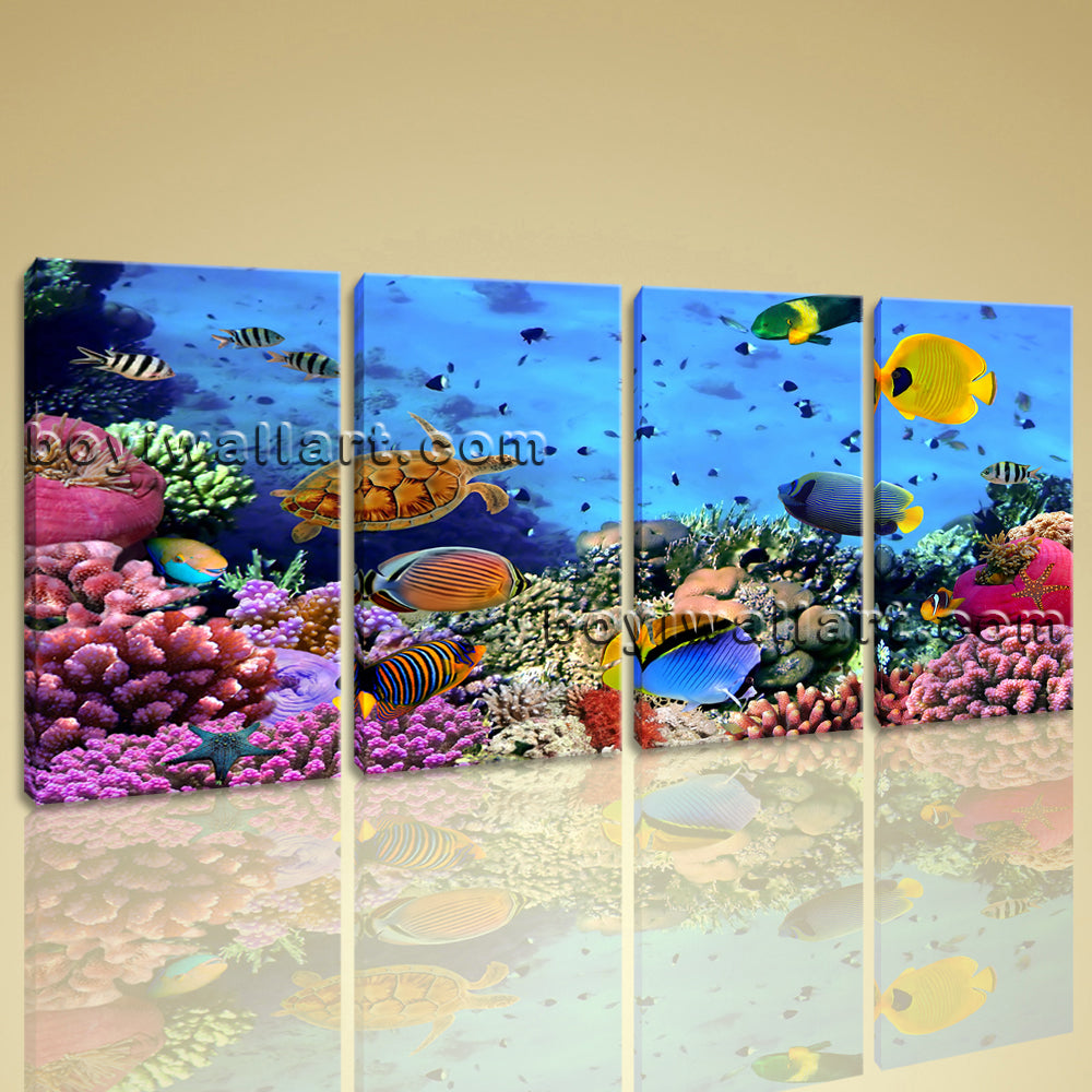 Large Tropical Fish Coral Animal Picture Painting On Canvas 4 Pieces Prints