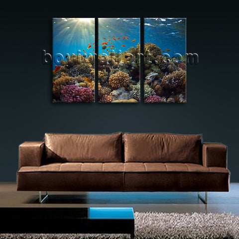 Large Tropical Fish Coral Animal Hd Print Wall Art Triptych Panels Prints
