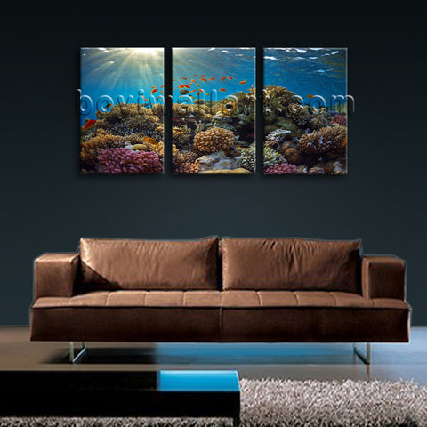 Large Tropical Fish Coral Animal Wall Decor Art Painting 1 Panels Canvas Print
