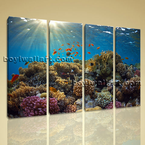 Large Tropical Fish Coral Animal Painting Wall Decor Living Room 4 Panels Print