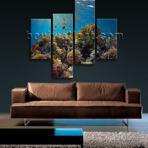 Large Tropical Fish Coral Animal Hd Print Painting On Canvas Bedroom Prints
