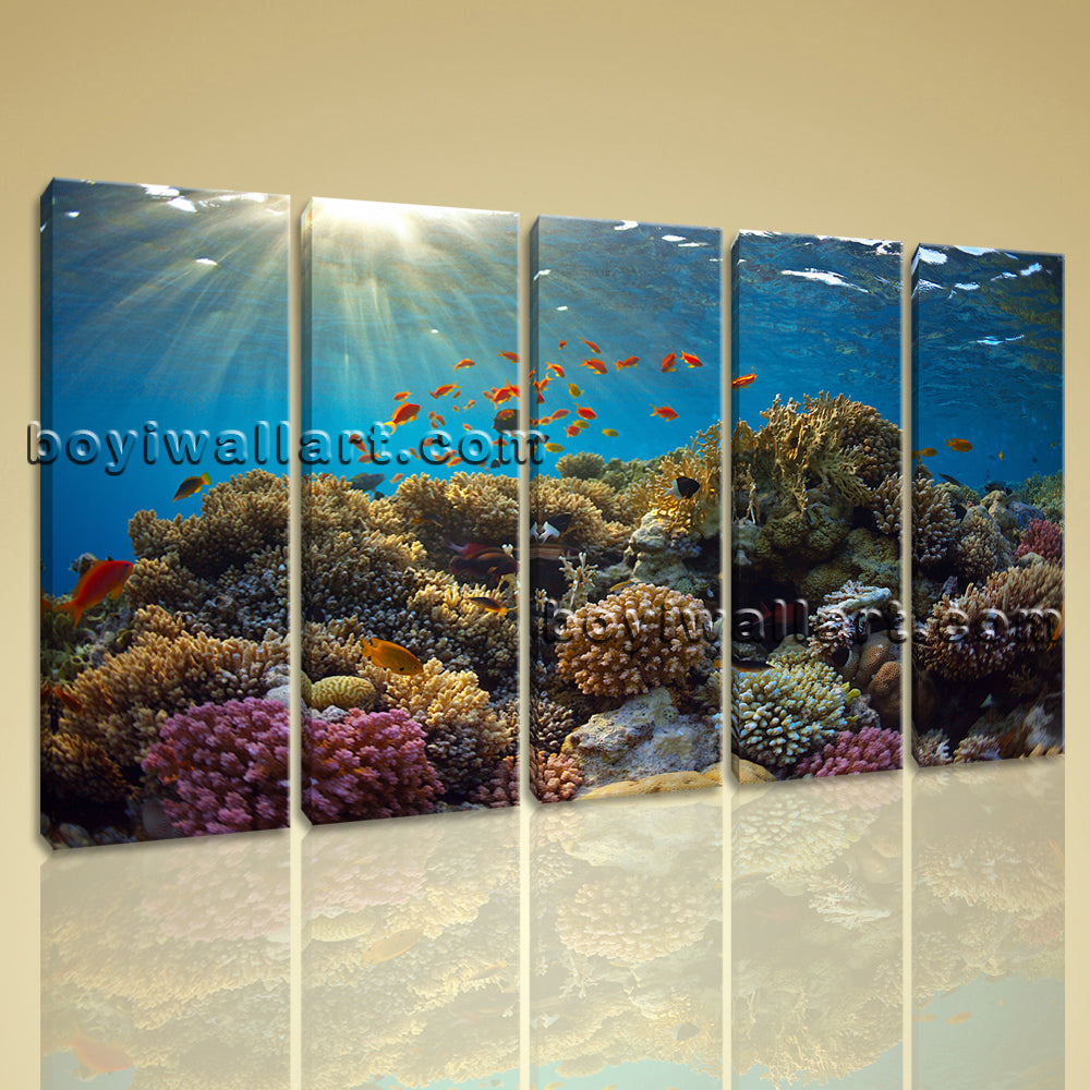 Large Tropical Fish Coral Animal Print Wall Art Dining Room Five Panels