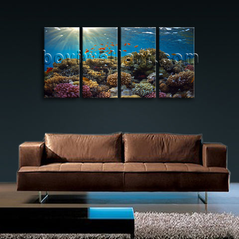 Large Tropical Fish Coral Animal Canvas Art Home Decor Bedroom Four Panels Print