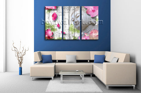 Large Feng Shui Buddha Print Contemporary Painting On Canvas Triptych Pieces