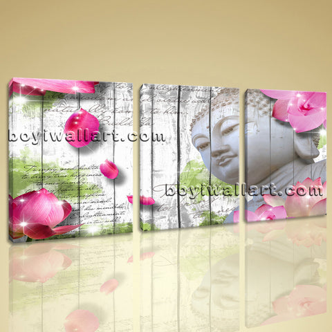 Large Feng Shui Buddha Wall Art Contemporary Painting Three Panels Print