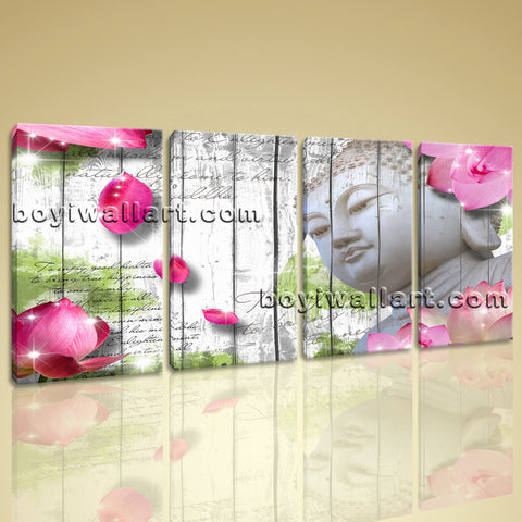 Large Feng Shui Buddha Print Contemporary Wall Decor Bedroom Tetraptych Pieces