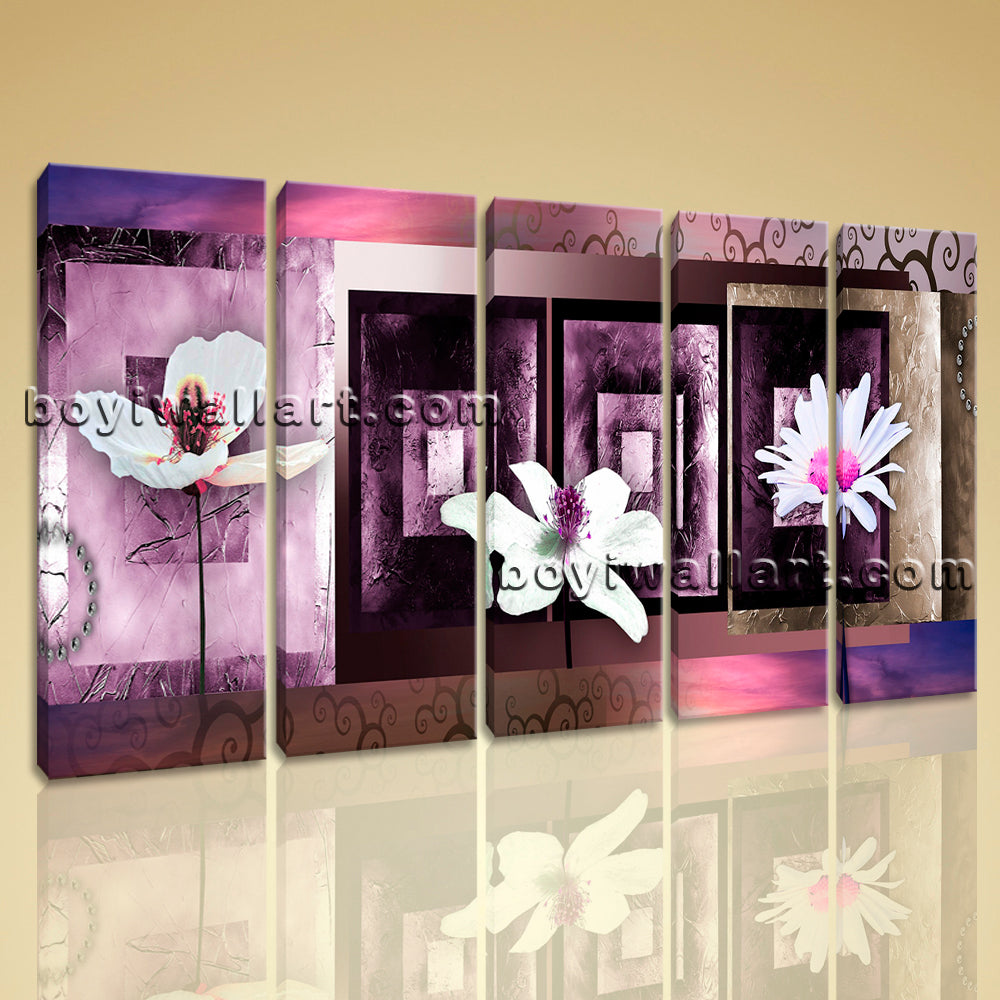 Large Modern Abstract Floral Wall Decor Art Dining Room Pentaptych Pieces Prints