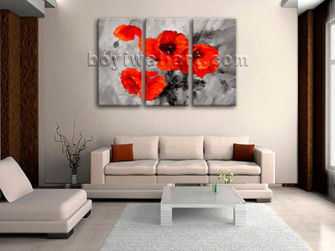 Large Abstract Poppy Flowers Print Contemporary Wall Art Three Pieces Giclee