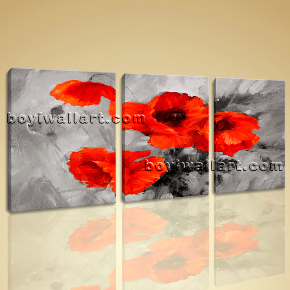 Large Abstract Poppy Flowers Canvas Art Wall Decor Three Pieces Print