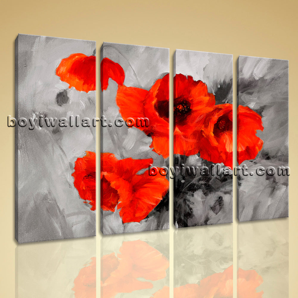 Large Abstract Poppy Flowers Wall Decor Canvas Art Four Pieces