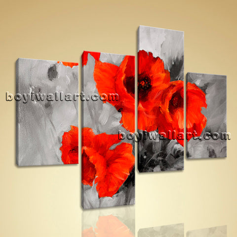 Large Abstract Poppy Flowers Painting Contemporary Wall Art Four Panels Print