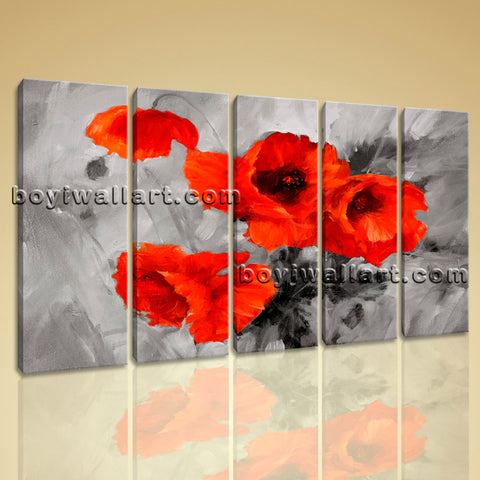 Large Abstract Poppy Flowers Hd Print Painting Dining Room Prints
