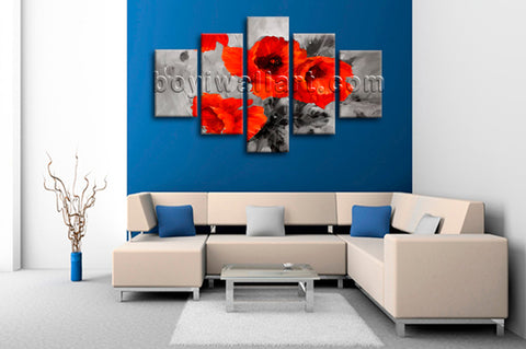 Large Abstract Poppy Flowers Painting Wall Art Dining Room Canvas Print