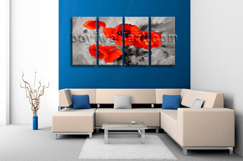 Large Abstract Poppy Flowers Painting Home Decor Bedroom Four Panels Prints