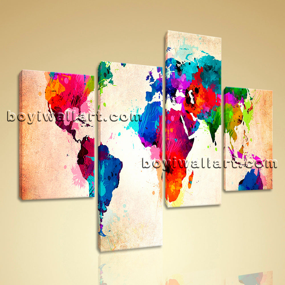 Large Abstract World Map Print Contemporary Canvas Art Bedroom 4 Pieces Giclee