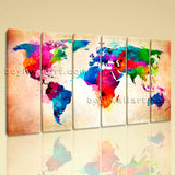 Large Abstract World Map Print Contemporary Oil Painting 6 Panels Art