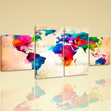 Large Abstract World Map Print Contemporary Oil Painting Dining Room Four Pieces