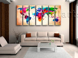Extra Large Abstract World Map Canvas Art Painting Seven Pieces Print
