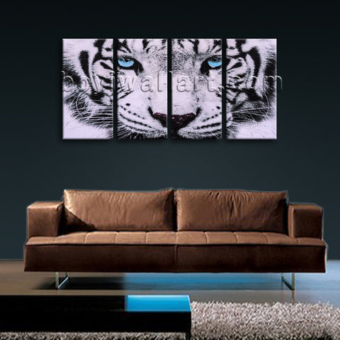 Large Tiger Painting Hd Print Home Decor Bedroom Tetraptych Panels Prints