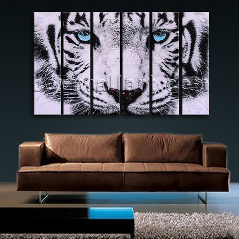 Large Tiger Painting Picture Photography Canvas Art Living Room Six Pieces Print