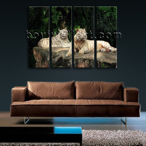 Large White Tiger Wall Art Hd Print Photography Painting Living Room 4 Pieces