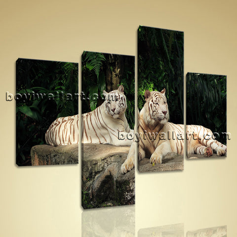 Large White Tiger Wall Art Print Painting On Canvas Bedroom Four Panels Giclee
