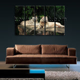 Large White Tiger Wall Art Photography Canvas Dining Room Five Pieces Print