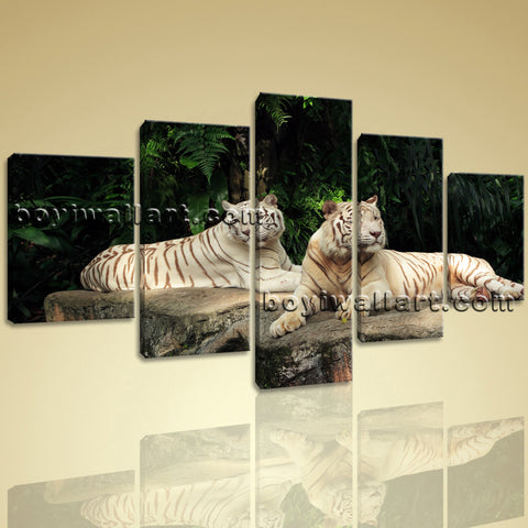Large White Tiger Wall Art Canvas Painting Dining Room Five Panels Prints