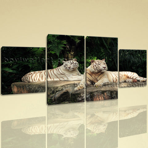 Large White Tiger Wall Art Decor Oil Painting Dining Room Four Pieces Prints