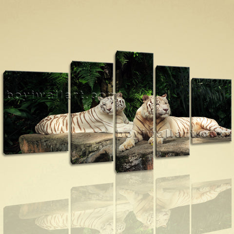 Extra Large White Tiger Wall Art Decor Home Living Room Five Panels Canvas Print