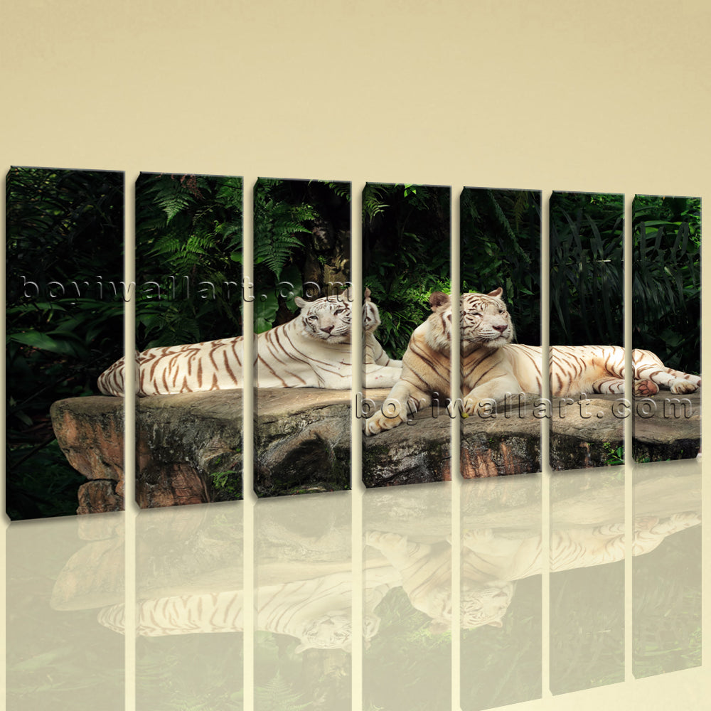 Extra Large White Tiger Wall Art Hd Print Canvas Living Room Heptaptych Pieces