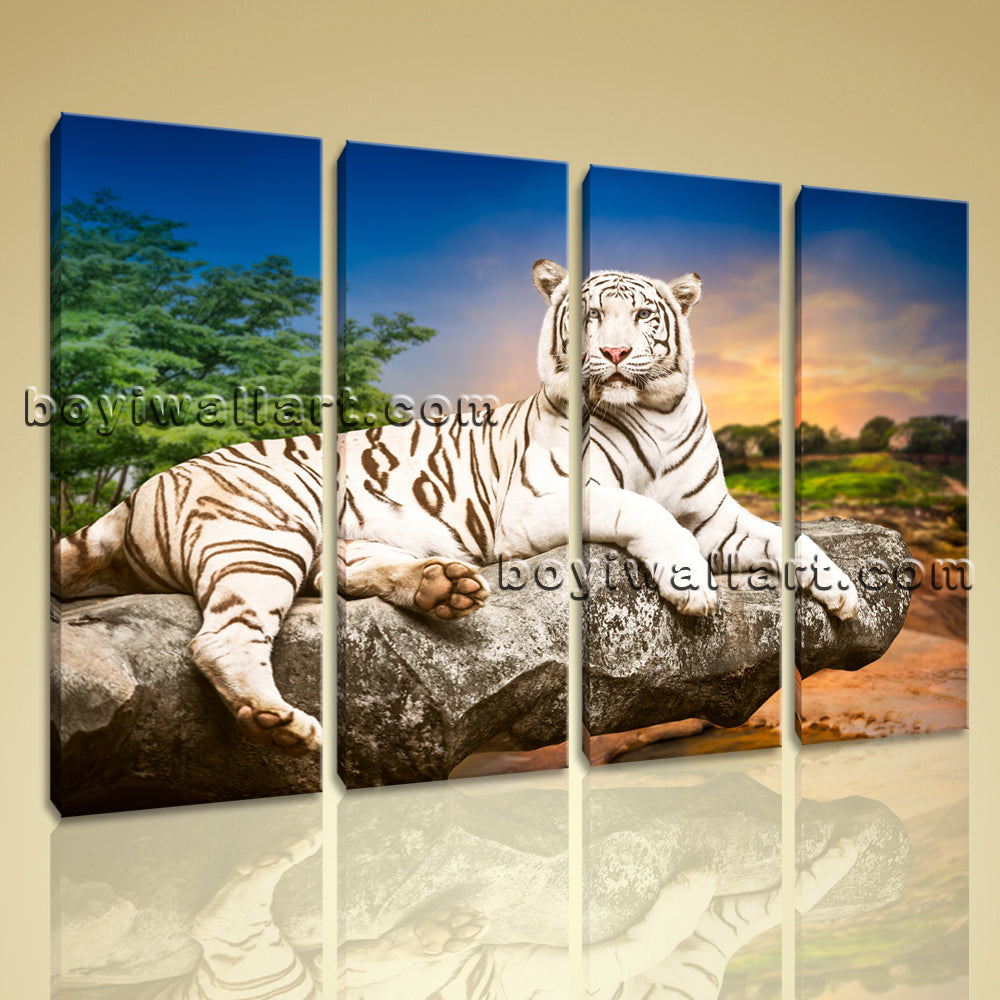 Large White Tiger Wall Art Hd Print Painting Living Room Four Pieces Prints