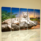 Large White Tiger Wall Art Print Canvas Dining Room Pentaptych Panels